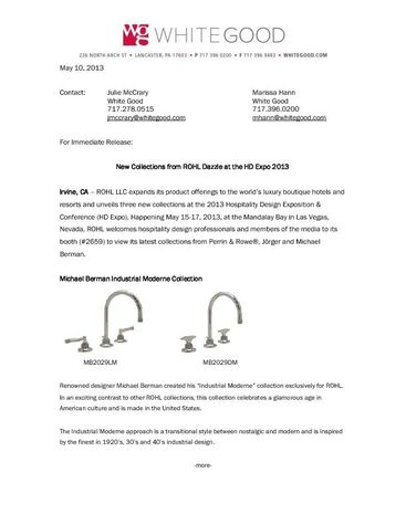 ROHL Hospitality Design Expo Press Release