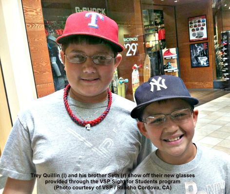 Trey and Seth Quillin wear their new glasses provided through the VSP Sight for Students program