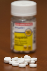 Aspirin Bottle and pills 325 mg Dose
