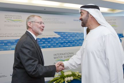 HH General Sheikh Mohamed bin Zayed Al Nahyan Crown Prince of Abu Dhabi Deputy Supreme Commander of the UAE Armed Forces greets Dr Glen Daigger, President of the International Water Association.