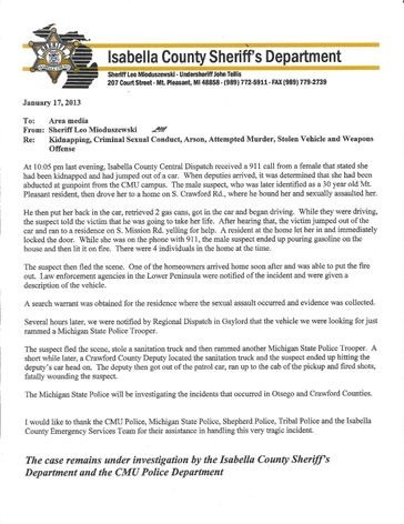 Official statement by Isabella County Sheriff's Department