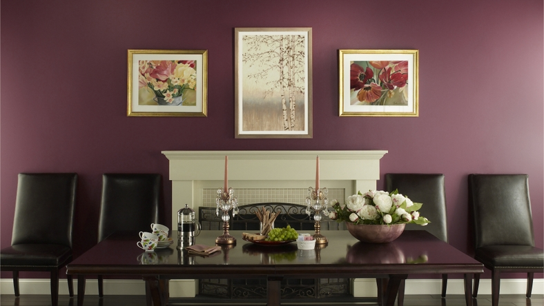 BEHR Paints Traditional Purple Dining Room