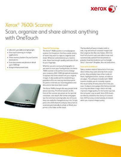 Brochure:  Xerox 7600i Scanner