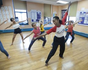 Nasha Thomas with AileyDance Kids at Public School IS 528
