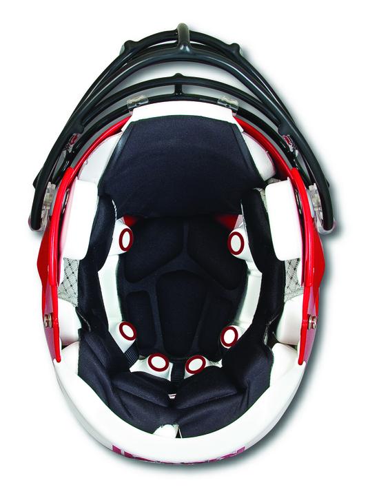 Underside of a Riddell Revolution Speed helmet with Sideline Response System sensors
